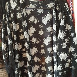 Forever 21 Sweaters - Black and White chiffon 3/4 sleeve kimono